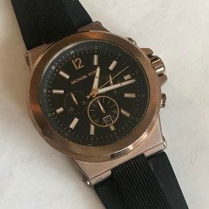 Oversized Dylan Rose Gold-Tone and Silicone Watch